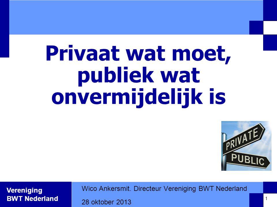 Vereniging BWT Nederland Privaat wat moet, publiek wat onvermijdelijk is Wico Ankersmit.