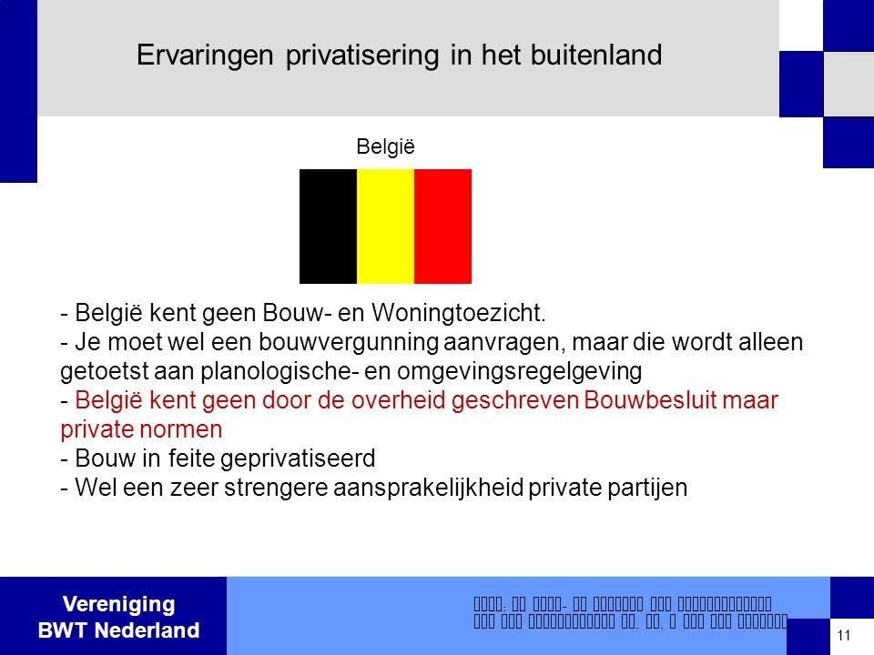 Vereniging BWT Nederland Ervaringen privatisering in het buitenland - België kent geen Bouw- en Woningtoezicht.