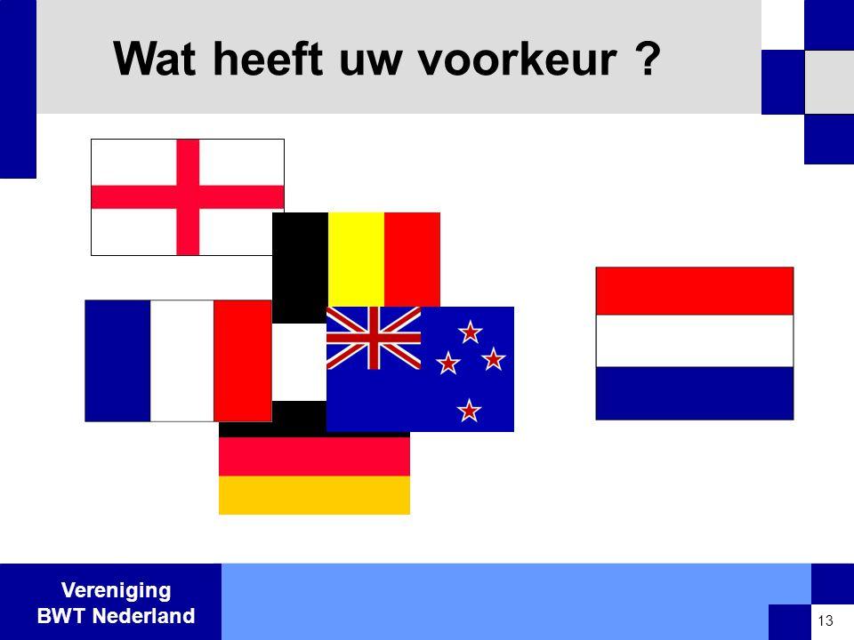 Vereniging BWT Nederland Wat heeft uw voorkeur ? 13