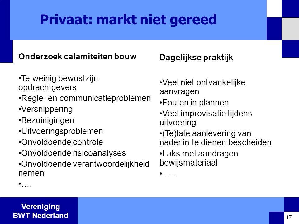 Vereniging BWT Nederland Privaat: markt niet gereed Onderzoek calamiteiten bouw •Te weinig bewustzijn opdrachtgevers •Regie- en communicatieproblemen •Versnippering •Bezuinigingen •Uitvoeringsproblemen •Onvoldoende controle •Onvoldoende risicoanalyses •Onvoldoende verantwoordelijkheid nemen •….