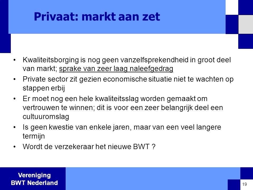 Vereniging BWT Nederland Privaat: markt aan zet •Kwaliteitsborging is nog geen vanzelfsprekendheid in groot deel van markt; sprake van zeer laag naleefgedrag •Private sector zit gezien economische situatie niet te wachten op stappen erbij •Er moet nog een hele kwaliteitsslag worden gemaakt om vertrouwen te winnen; dit is voor een zeer belangrijk deel een cultuuromslag •Is geen kwestie van enkele jaren, maar van een veel langere termijn •Wordt de verzekeraar het nieuwe BWT .