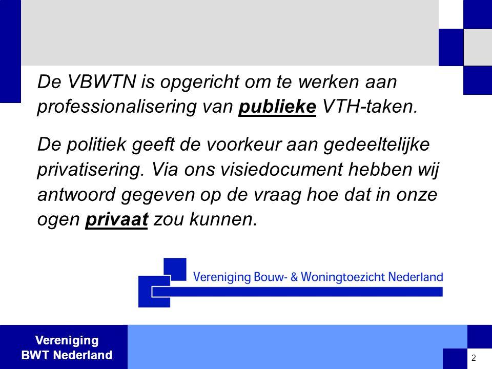 Vereniging BWT Nederland Ruimtelijke vergunning •Lijkt zeer veel op oude bouwvergunning fase 1: vergunning, die de ruimtelijke voorwaarden bepaalt •Tussenkomst private toetser niet relevant.