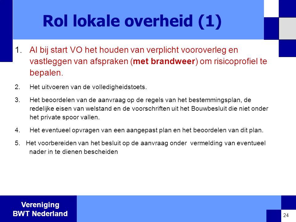 Vereniging BWT Nederland Rol lokale overheid (1) 1.Al bij start VO het houden van verplicht vooroverleg en vastleggen van afspraken (met brandweer) om risicoprofiel te bepalen.