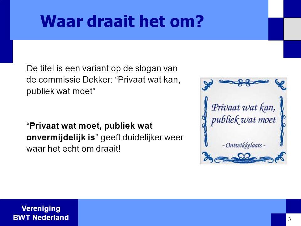 Vereniging BWT Nederland Waar draait het om.