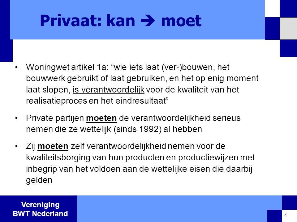 Vereniging BWT Nederland Publiek: moet  onvermijdelijk •Bouwen heeft directe impact op de openbare ruimte.