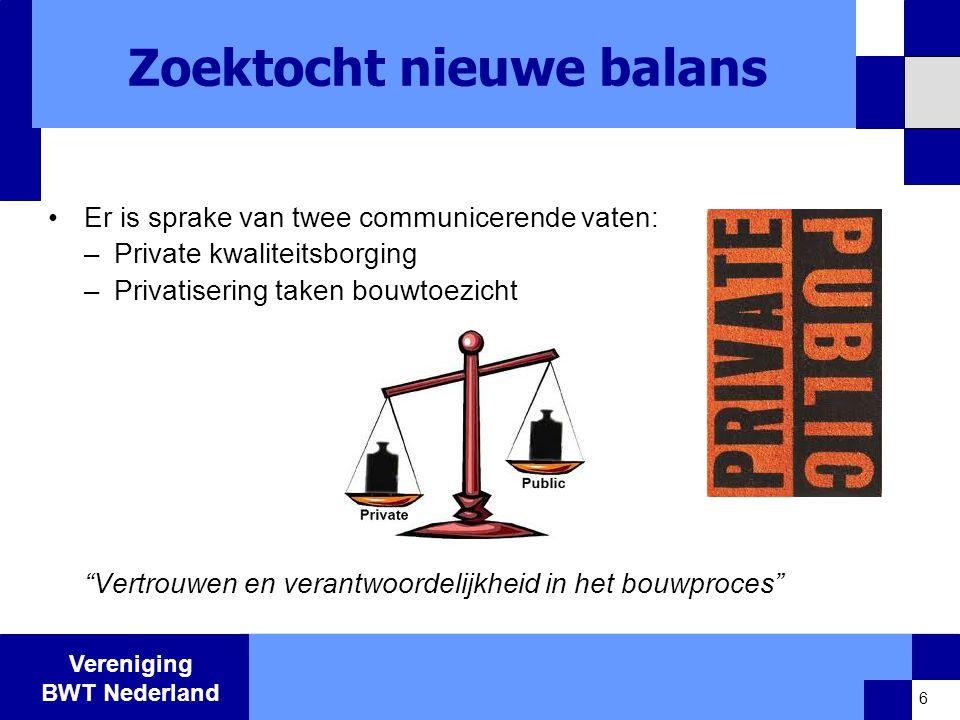 Vereniging BWT Nederland Zoektocht nieuwe balans •Er is sprake van twee communicerende vaten: –Private kwaliteitsborging –Privatisering taken bouwtoezicht Vertrouwen en verantwoordelijkheid in het bouwproces 6