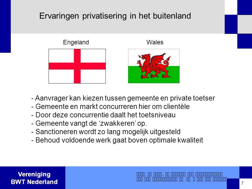 Vereniging BWT Nederland Ervaringen privatisering in het buitenland - Aanvrager kan kiezen tussen gemeente en private toetser - Gemeente en markt concurreren hier om clientèle - Door deze concurrentie daalt het toetsniveau - Gemeente vangt de 'zwakkeren' op.