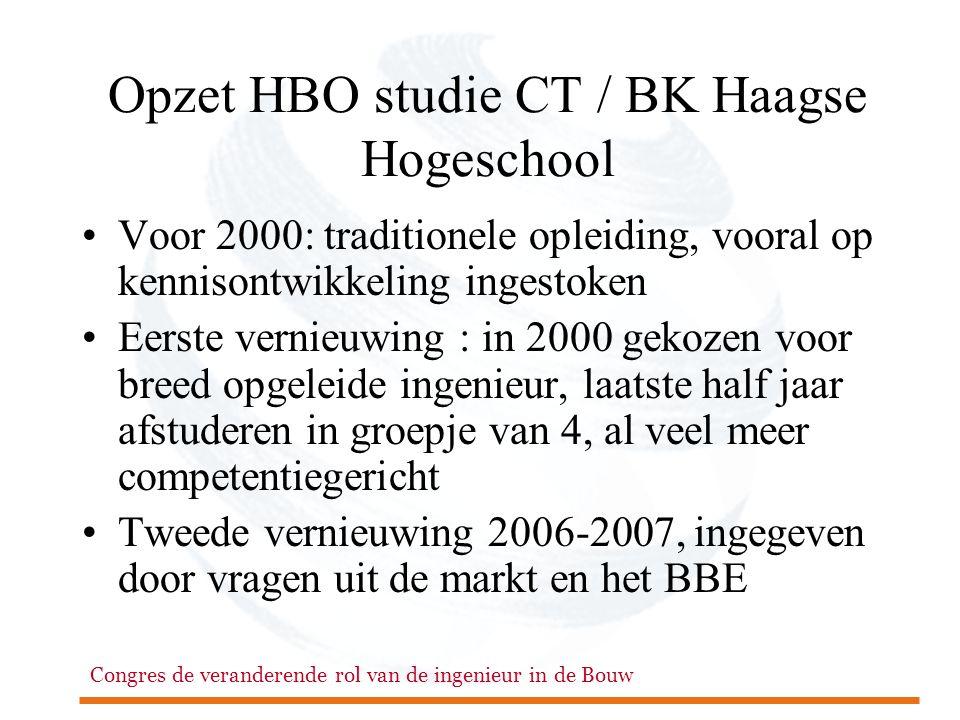 Congres de veranderende rol van de ingenieur in de Bouw Opzet HBO studie CT / BK Haagse Hogeschool •Voor 2000: traditionele opleiding, vooral op kenni