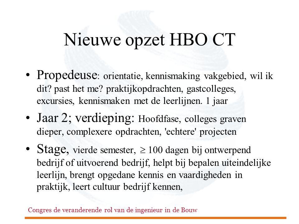 Congres de veranderende rol van de ingenieur in de Bouw Nieuwe opzet HBO CT •Propedeuse : orientatie, kennismaking vakgebied, wil ik dit? past het me?