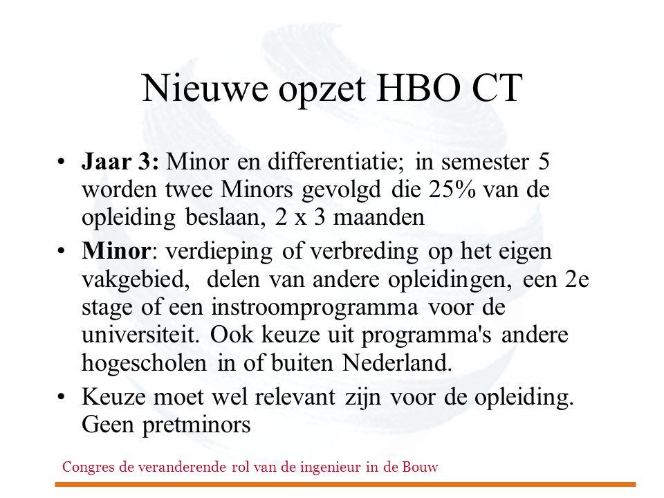 Congres de veranderende rol van de ingenieur in de Bouw Nieuwe opzet HBO CT •Jaar 3: Minor en differentiatie; in semester 5 worden twee Minors gevolgd