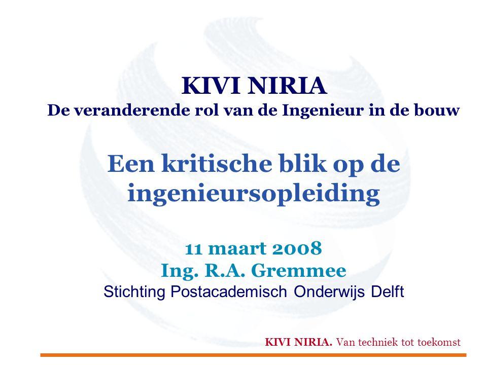 KIVI NIRIA De veranderende rol van de Ingenieur in de bouw Een kritische blik op de ingenieursopleiding 11 maart 2008 Ing. R.A. Gremmee Stichting Post