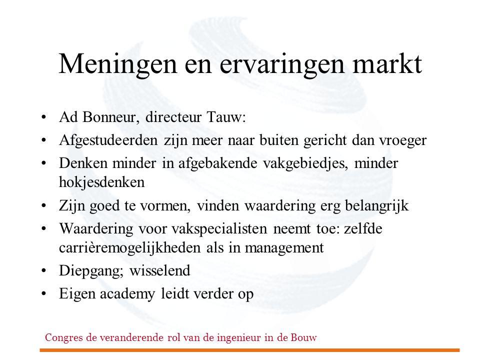 Congres de veranderende rol van de ingenieur in de Bouw Meningen en ervaringen markt •Ad Bonneur, directeur Tauw: •Afgestudeerden zijn meer naar buite