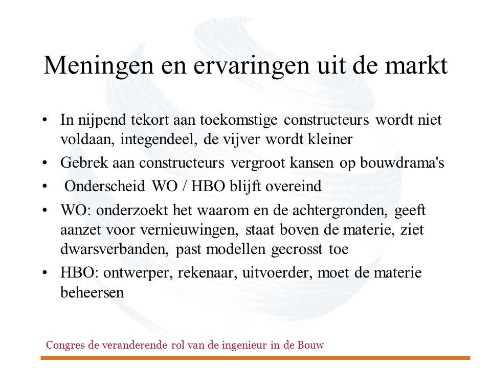 Congres de veranderende rol van de ingenieur in de Bouw Meningen en ervaringen uit de markt •In nijpend tekort aan toekomstige constructeurs wordt niet voldaan, integendeel, de vijver wordt kleiner •Gebrek aan constructeurs vergroot kansen op bouwdrama s • Onderscheid WO / HBO blijft overeind •WO: onderzoekt het waarom en de achtergronden, geeft aanzet voor vernieuwingen, staat boven de materie, ziet dwarsverbanden, past modellen gecrosst toe •HBO: ontwerper, rekenaar, uitvoerder, moet de materie beheersen