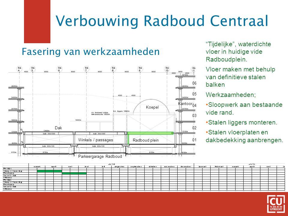 """8 Fasering van werkzaamheden """"Tijdelijke"""", waterdichte vloer in huidige vide Radboudplein. Vloer maken met behulp van definitieve stalen balken Werkza"""