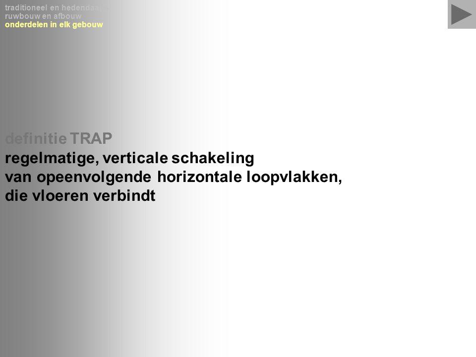traditioneel en hedendaags ruwbouw en afbouw onderdelen in elk gebouw definitie TRAP regelmatige, verticale schakeling van opeenvolgende horizontale l