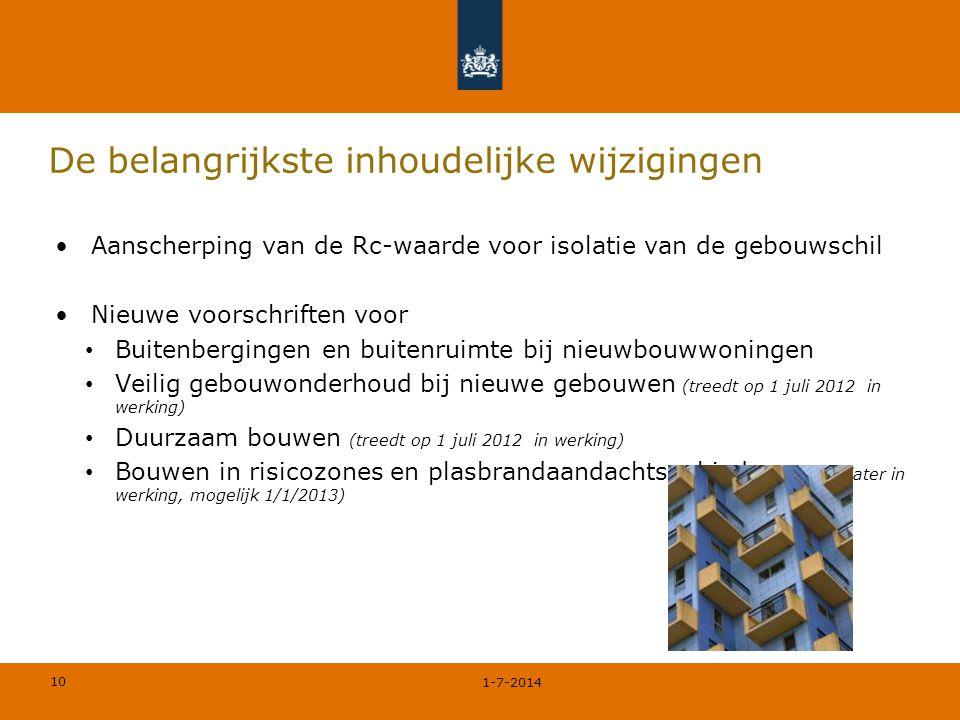 10 De belangrijkste inhoudelijke wijzigingen •Aanscherping van de Rc-waarde voor isolatie van de gebouwschil •Nieuwe voorschriften voor • Buitenbergin