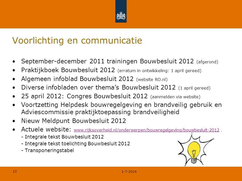 13 Voorlichting en communicatie •September-december 2011 trainingen Bouwbesluit 2012 (afgerond) •Praktijkboek Bouwbesluit 2012 (erratum in ontwikkelin