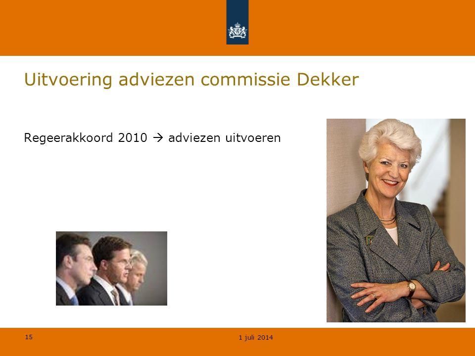15 Uitvoering adviezen commissie Dekker 1 juli 2014 Regeerakkoord 2010  adviezen uitvoeren