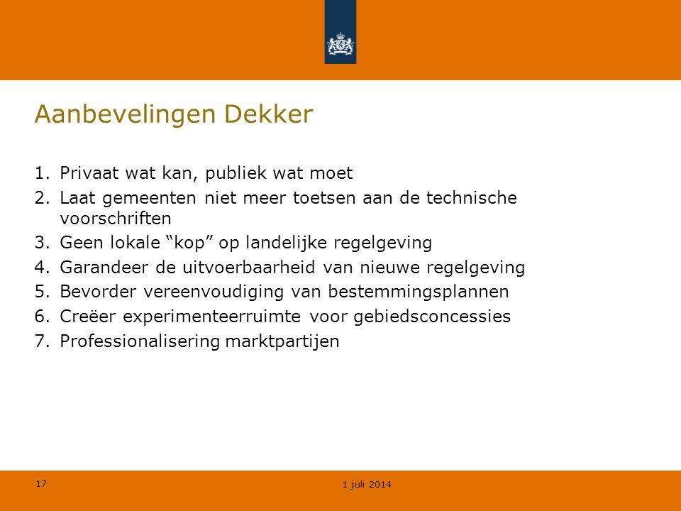 """17 Aanbevelingen Dekker 1.Privaat wat kan, publiek wat moet 2.Laat gemeenten niet meer toetsen aan de technische voorschriften 3.Geen lokale """"kop"""" op"""