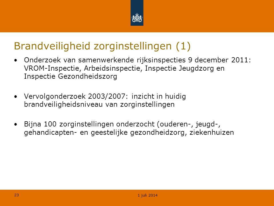 23 Brandveiligheid zorginstellingen (1) •Onderzoek van samenwerkende rijksinspecties 9 december 2011: VROM-Inspectie, Arbeidsinspectie, Inspectie Jeug