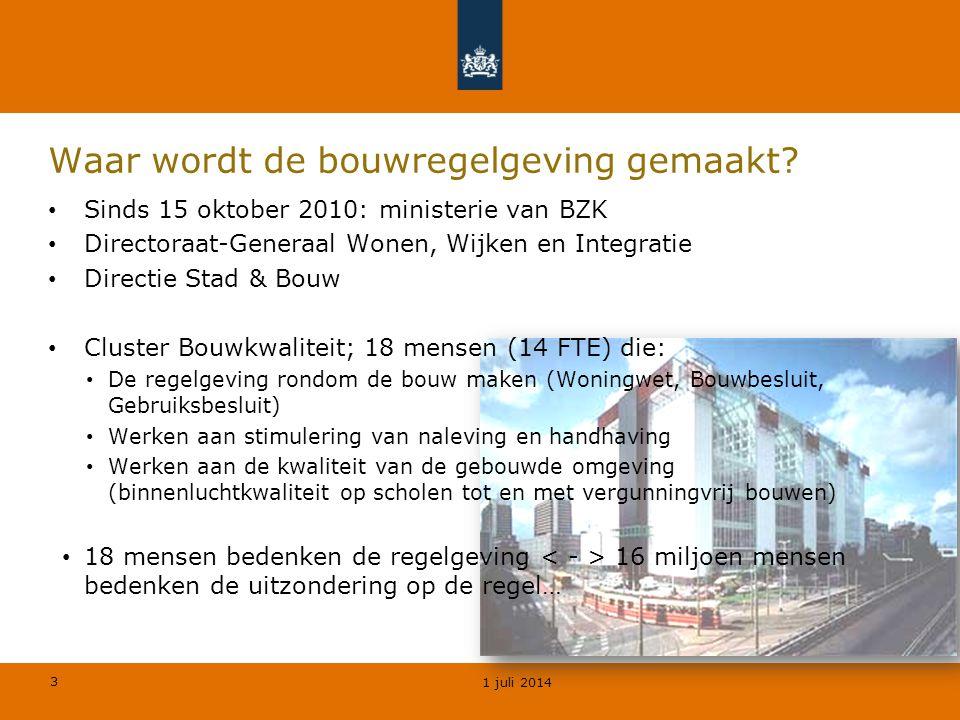 3 Waar wordt de bouwregelgeving gemaakt? • Sinds 15 oktober 2010: ministerie van BZK • Directoraat-Generaal Wonen, Wijken en Integratie • Directie Sta