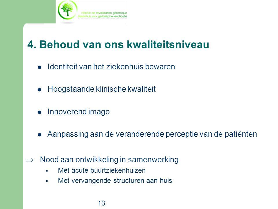 13 4. Behoud van ons kwaliteitsniveau  Identiteit van het ziekenhuis bewaren  Hoogstaande klinische kwaliteit  Innoverend imago  Aanpassing aan de