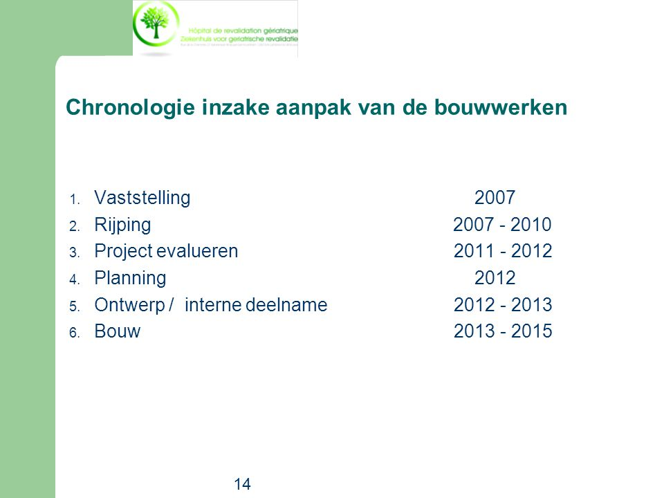 14 Chronologie inzake aanpak van de bouwwerken 1. Vaststelling 2007 2. Rijping 2007 - 2010 3. Project evalueren2011 - 2012 4. Planning 2012 5. Ontwerp