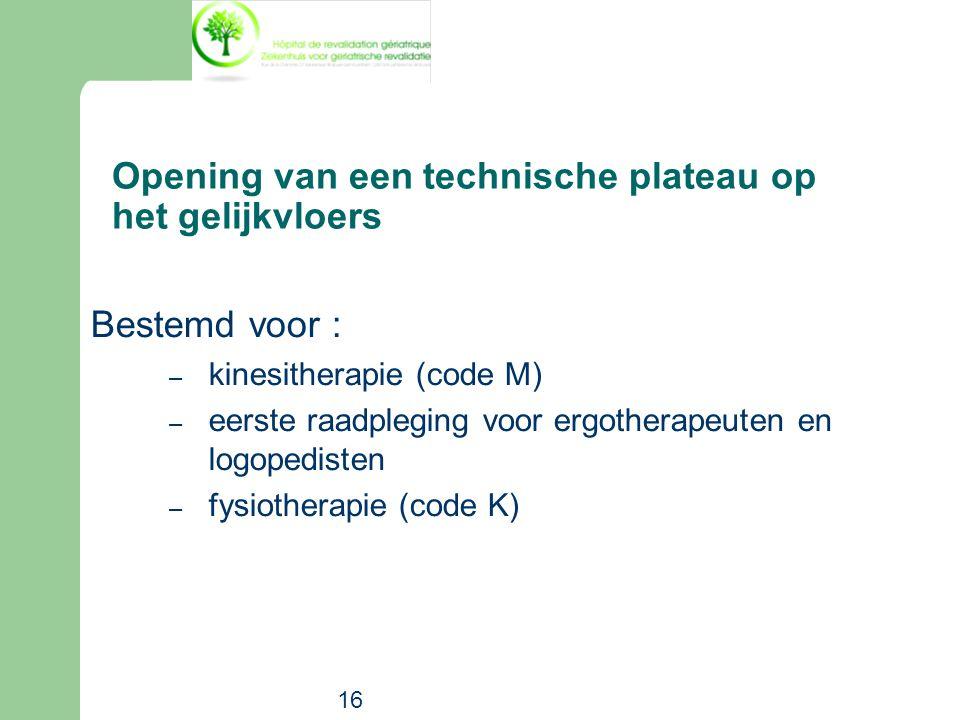 16 Bestemd voor : – kinesitherapie (code M) – eerste raadpleging voor ergotherapeuten en logopedisten – fysiotherapie (code K) Opening van een technis