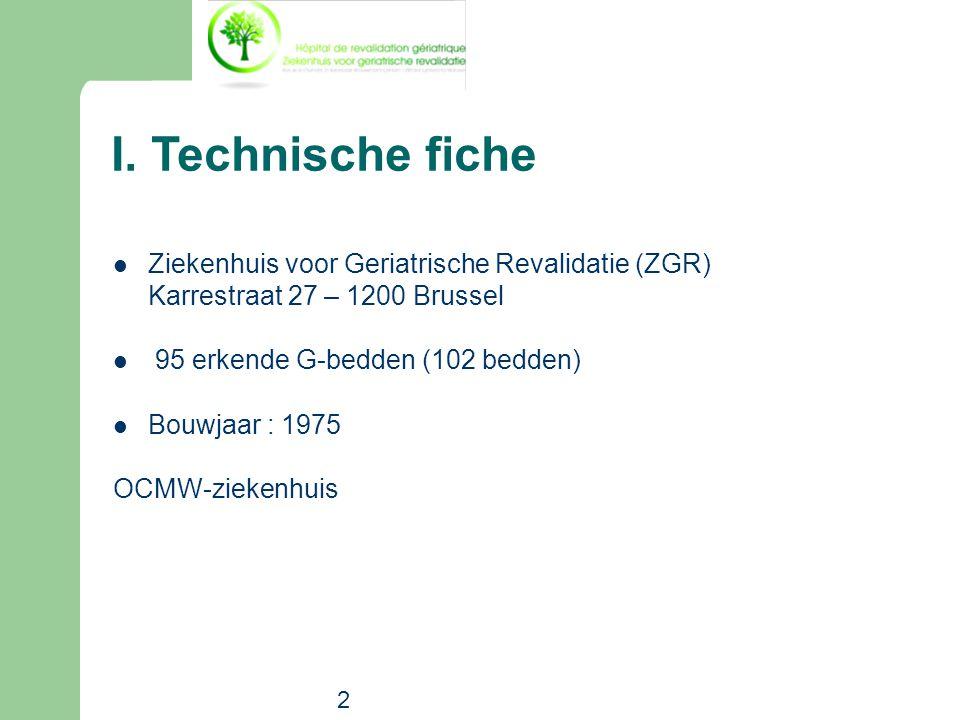 2 I. Technische fiche  Ziekenhuis voor Geriatrische Revalidatie (ZGR) Karrestraat 27 – 1200 Brussel  95 erkende G-bedden (102 bedden)  Bouwjaar : 1