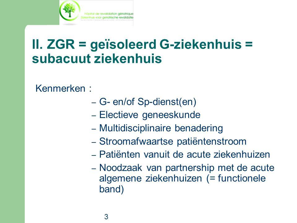 3 II.ZGR = geïsoleerd G-ziekenhuis = subacuut ziekenhuis Kenmerken : – G- en/of Sp-dienst(en) – Electieve geneeskunde – Multidisciplinaire benadering