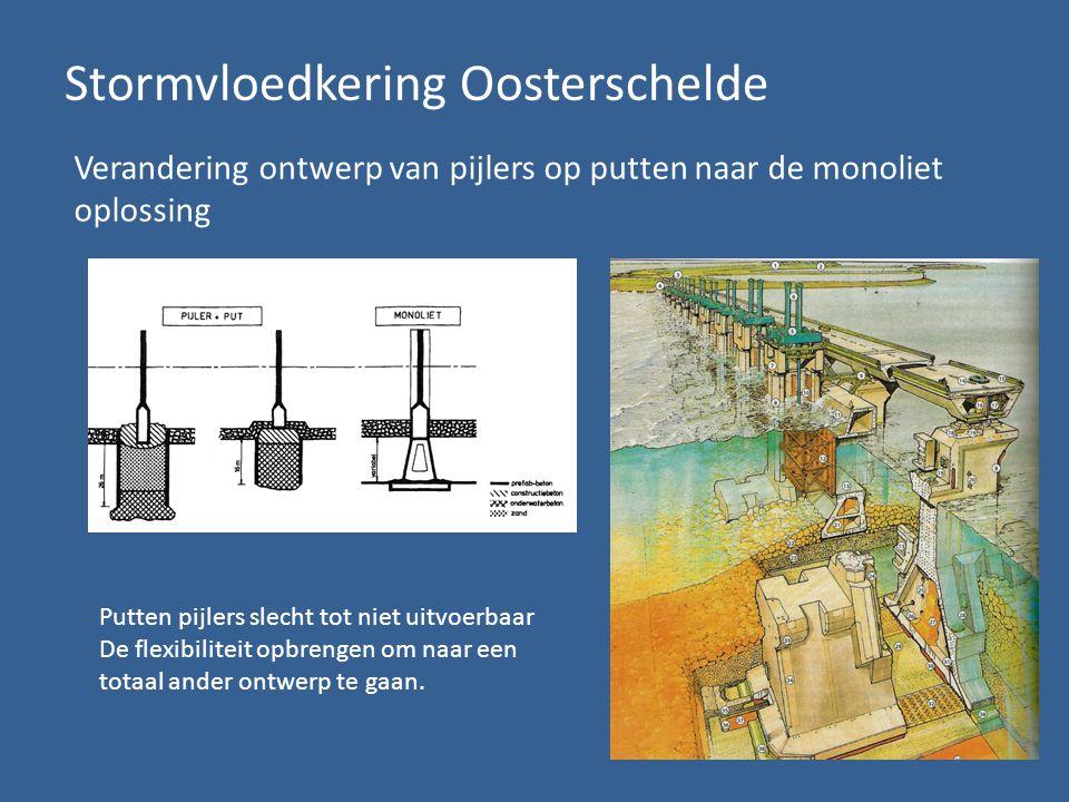 Stormvloedkering Oosterschelde Verandering ontwerp van pijlers op putten naar de monoliet oplossing Putten pijlers slecht tot niet uitvoerbaar De flexibiliteit opbrengen om naar een totaal ander ontwerp te gaan.