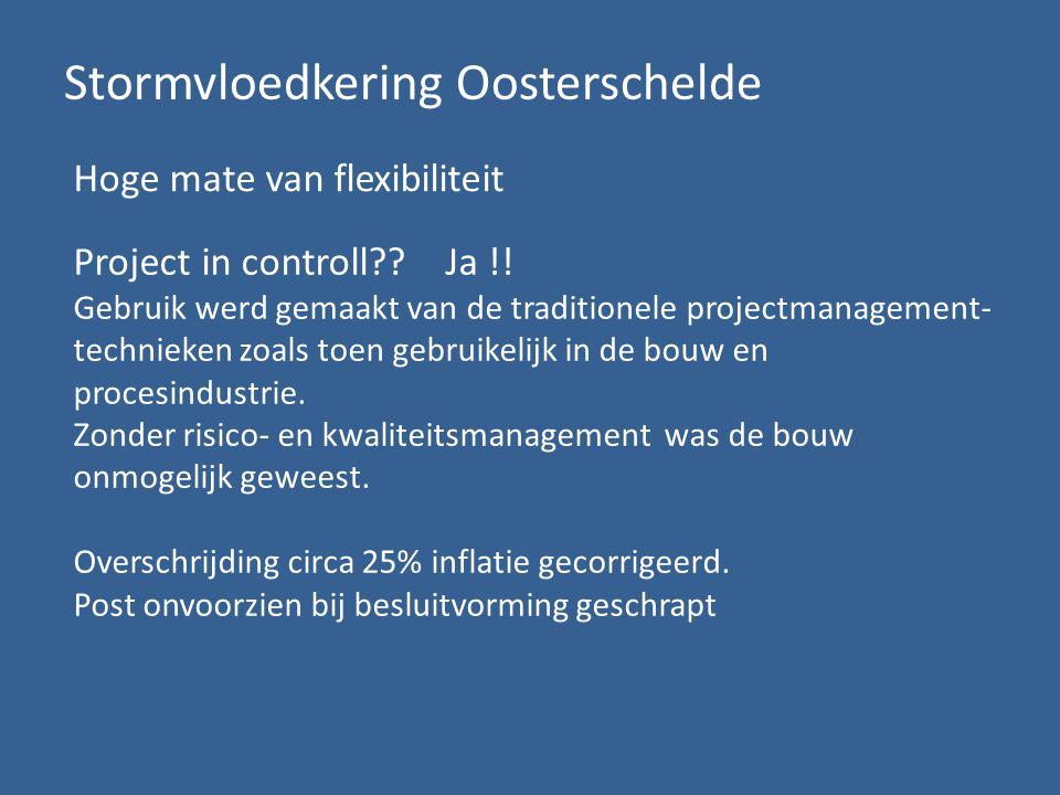 Stormvloedkering Oosterschelde Hoge mate van flexibiliteit Project in controll .