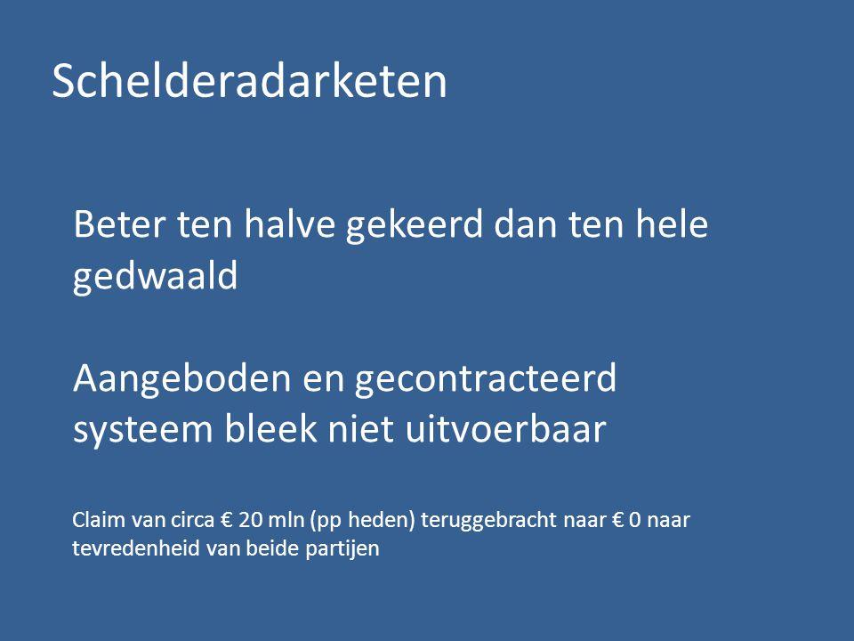 Schelderadarketen Beter ten halve gekeerd dan ten hele gedwaald Aangeboden en gecontracteerd systeem bleek niet uitvoerbaar Claim van circa € 20 mln (pp heden) teruggebracht naar € 0 naar tevredenheid van beide partijen