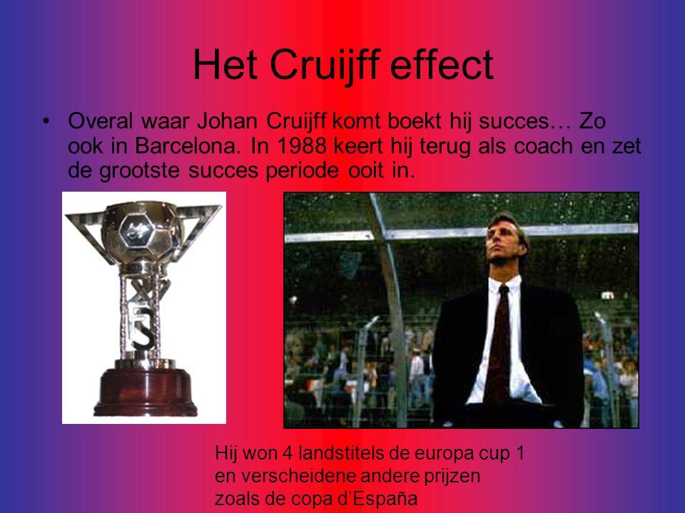 Het Cruijff effect •Overal waar Johan Cruijff komt boekt hij succes… Zo ook in Barcelona.