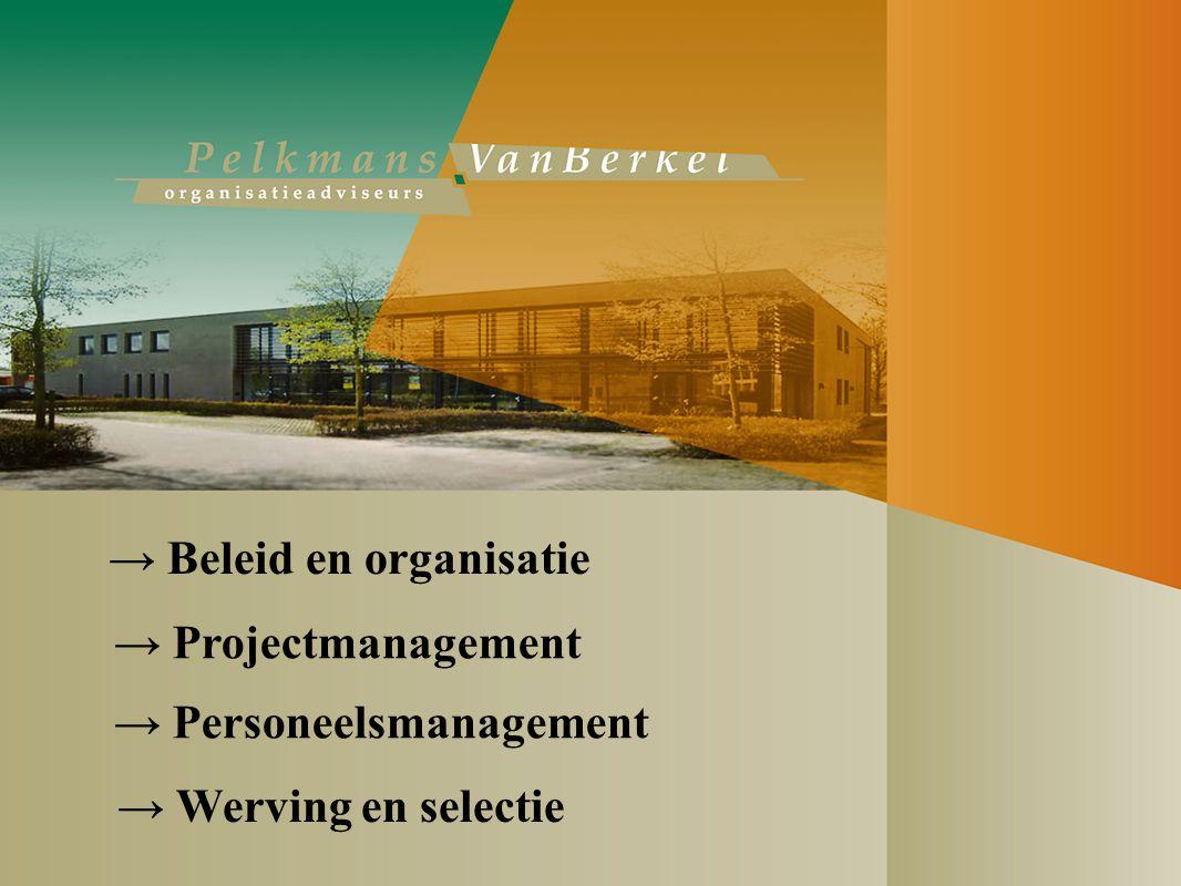 → Beleid en organisatie → Projectmanagement → Werving en selectie → Personeelsmanagement
