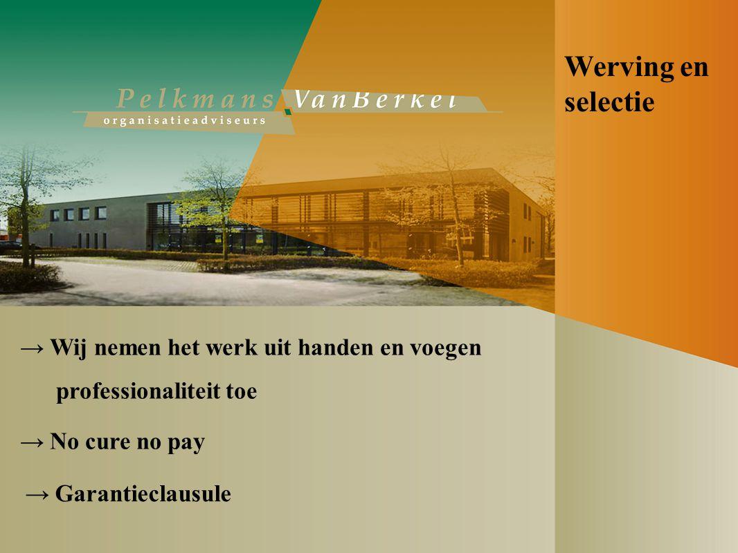 Werving en selectie → Wij nemen het werk uit handen en voegen professionaliteit toe → No cure no pay → Garantieclausule