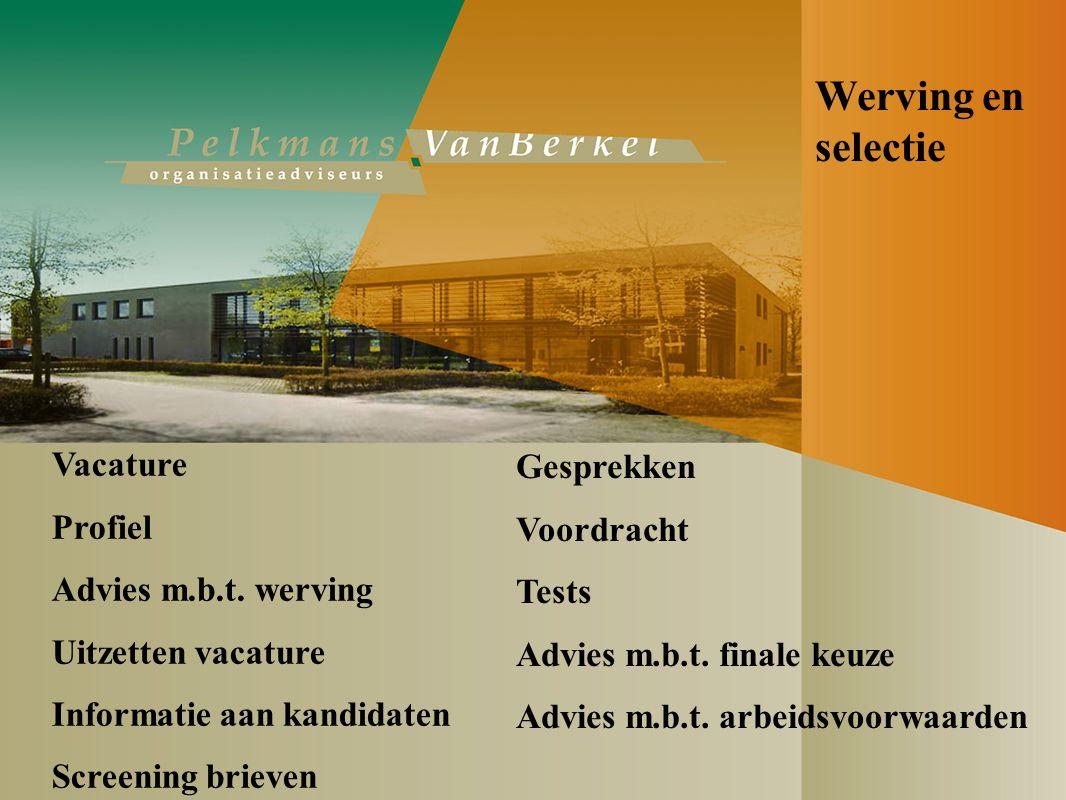 Werving en selectie Vacature Profiel Advies m.b.t.