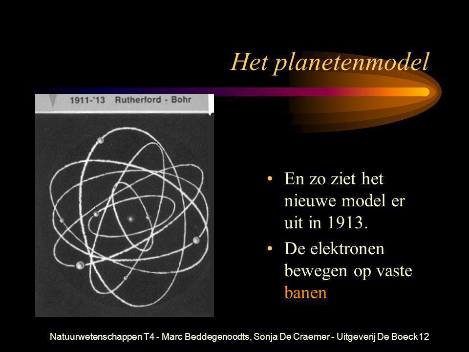 Natuurwetenschappen T4 - Marc Beddegenoodts, Sonja De Craemer - Uitgeverij De Boeck12 Het planetenmodel •En zo ziet het nieuwe model er uit in 1913. •