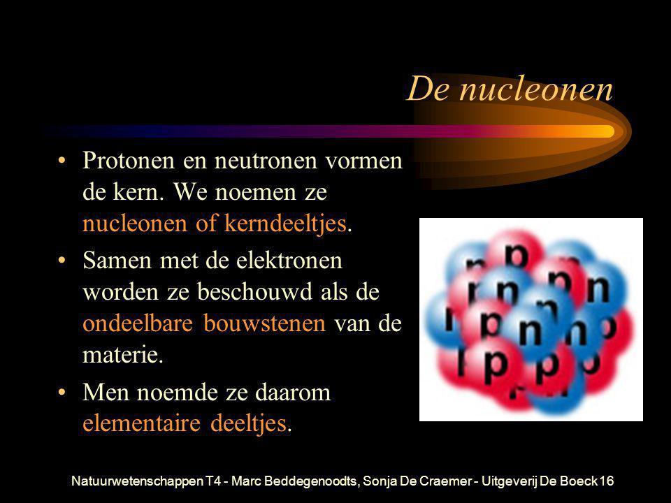 Natuurwetenschappen T4 - Marc Beddegenoodts, Sonja De Craemer - Uitgeverij De Boeck16 De nucleonen •Protonen en neutronen vormen de kern. We noemen ze