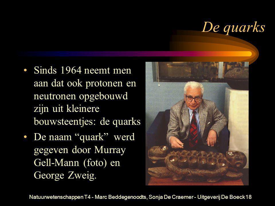 Natuurwetenschappen T4 - Marc Beddegenoodts, Sonja De Craemer - Uitgeverij De Boeck18 De quarks •Sinds 1964 neemt men aan dat ook protonen en neutrone