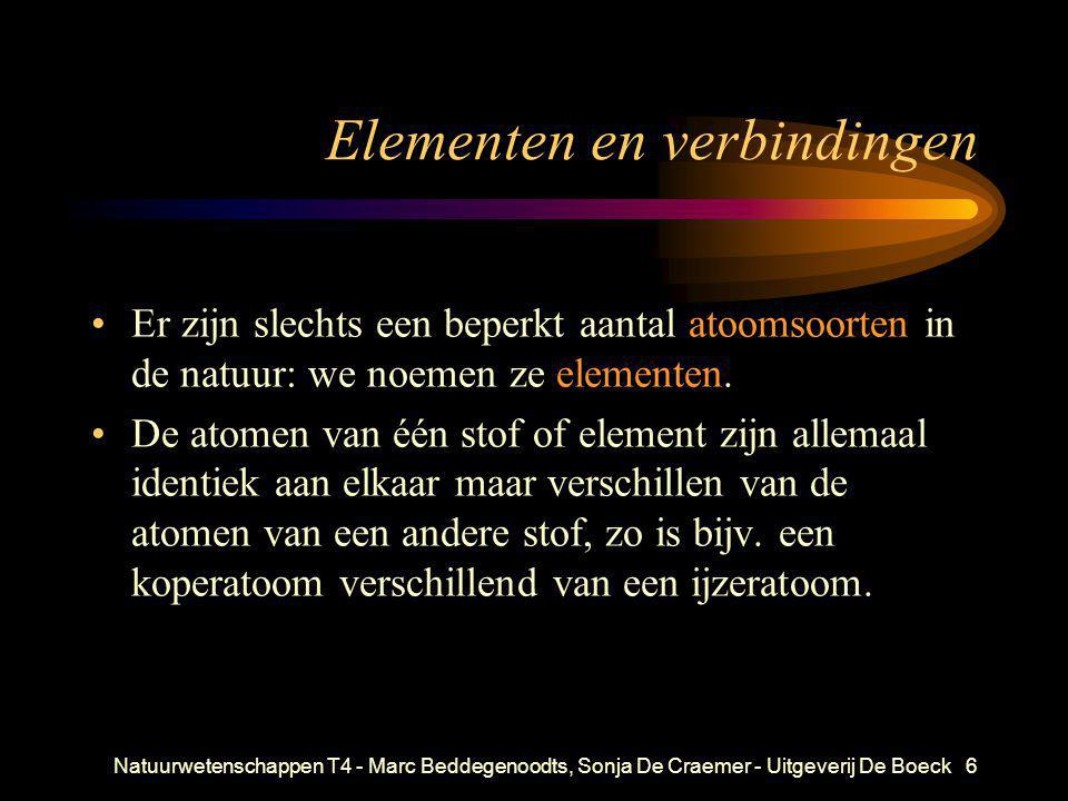 Natuurwetenschappen T4 - Marc Beddegenoodts, Sonja De Craemer - Uitgeverij De Boeck7 Elementen en verbindingen •Alle andere stoffen zijn verbindingen.
