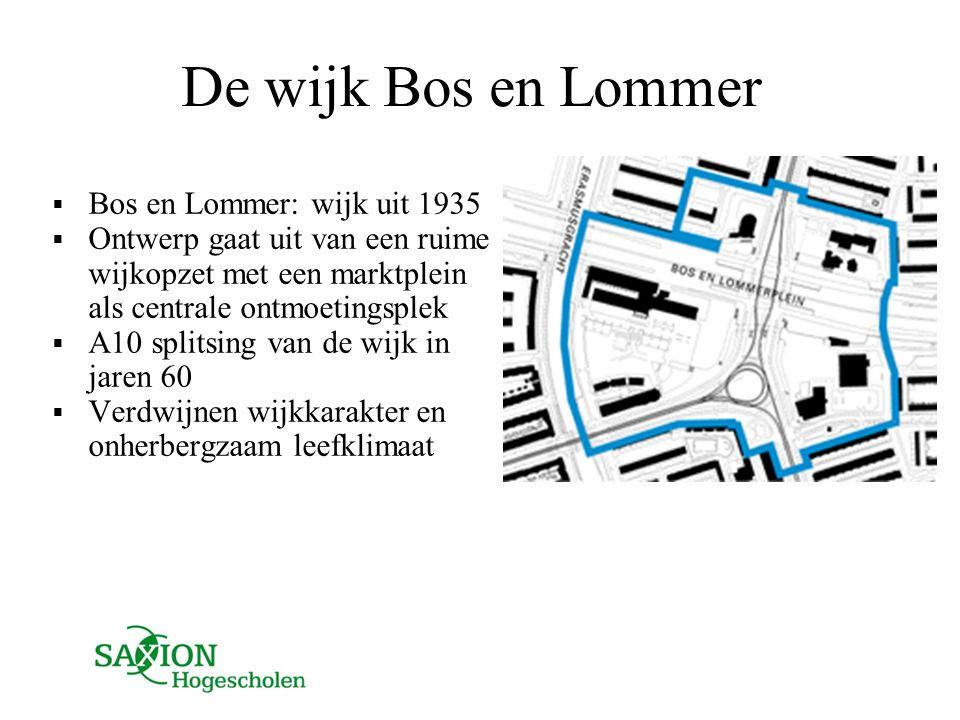 De wijk Bos en Lommer  Bos en Lommer: wijk uit 1935  Ontwerp gaat uit van een ruime wijkopzet met een marktplein als centrale ontmoetingsplek  A10