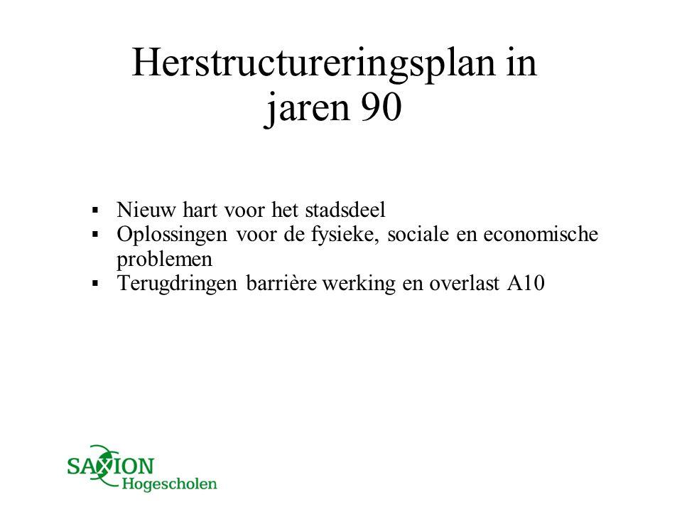 Herstructureringsplan in jaren 90  Nieuw hart voor het stadsdeel  Oplossingen voor de fysieke, sociale en economische problemen  Terugdringen barri