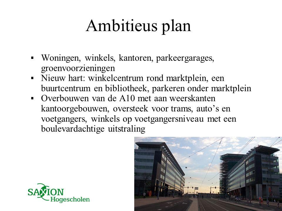 Ambitieus plan  Woningen, winkels, kantoren, parkeergarages, groenvoorzieningen  Nieuw hart: winkelcentrum rond marktplein, een buurtcentrum en bibl