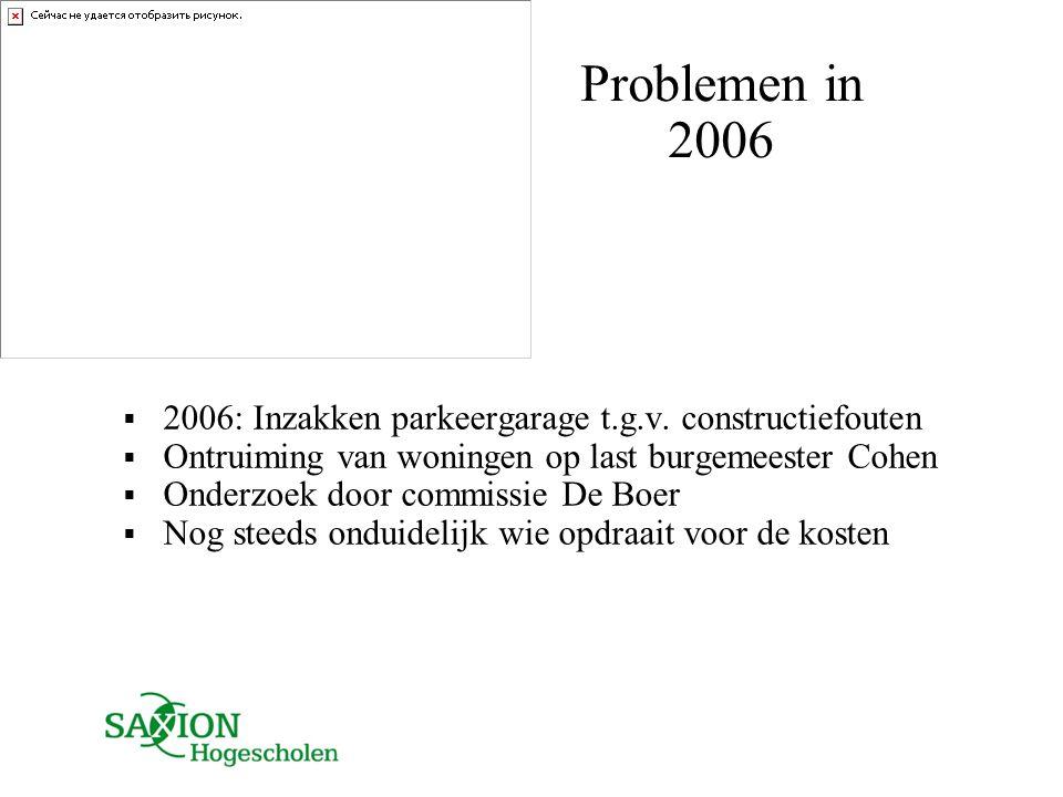 Problemen in 2006  2006: Inzakken parkeergarage t.g.v. constructiefouten  Ontruiming van woningen op last burgemeester Cohen  Onderzoek door commis