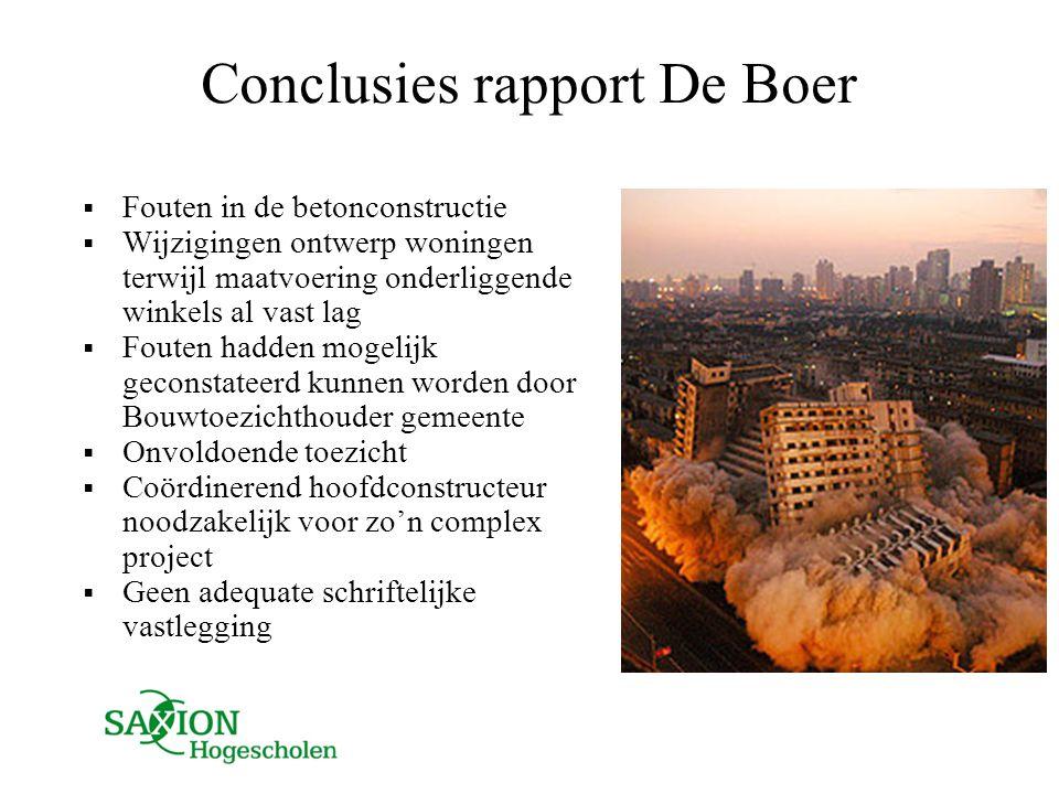 Conclusies rapport De Boer  Fouten in de betonconstructie  Wijzigingen ontwerp woningen terwijl maatvoering onderliggende winkels al vast lag  Fout