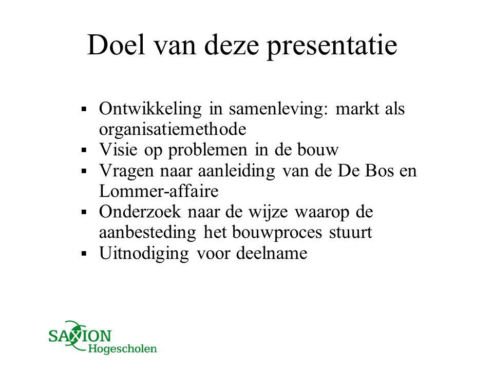 Doel van deze presentatie  Ontwikkeling in samenleving: markt als organisatiemethode  Visie op problemen in de bouw  Vragen naar aanleiding van de