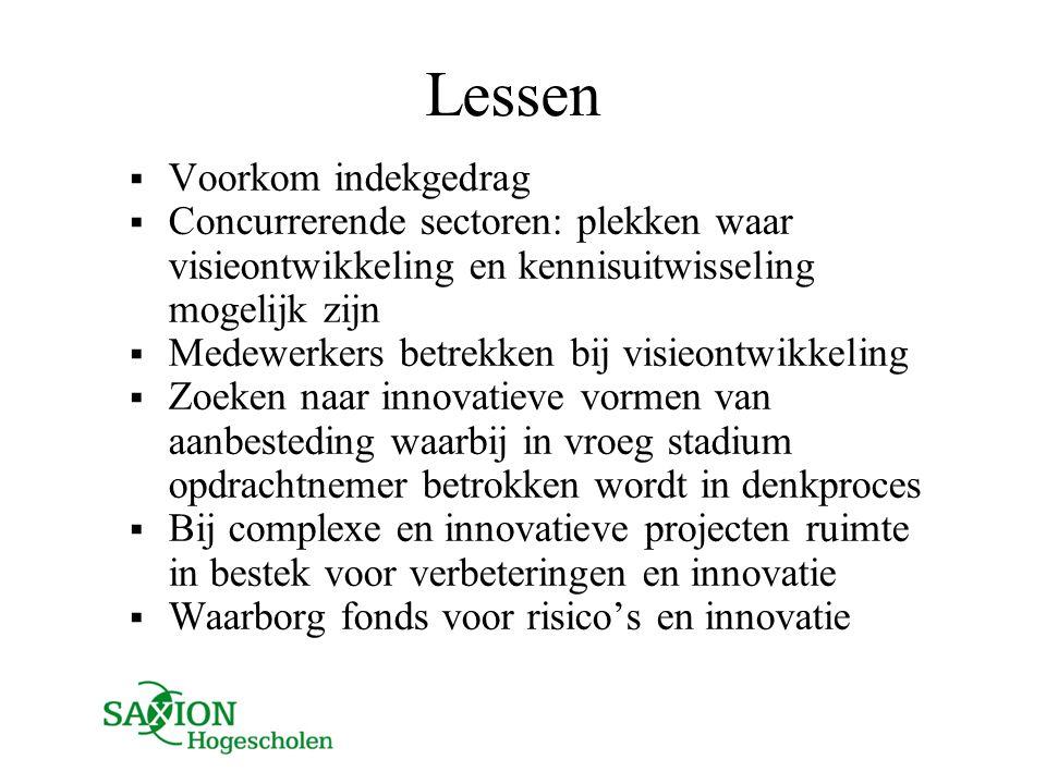 Lessen  Voorkom indekgedrag  Concurrerende sectoren: plekken waar visieontwikkeling en kennisuitwisseling mogelijk zijn  Medewerkers betrekken bij