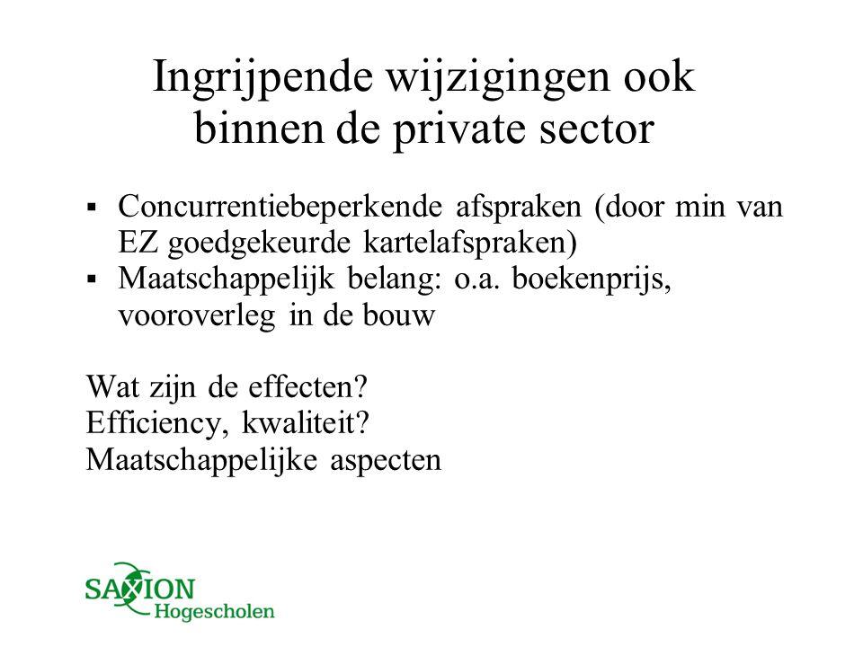Ingrijpende wijzigingen ook binnen de private sector  Concurrentiebeperkende afspraken (door min van EZ goedgekeurde kartelafspraken)  Maatschappeli
