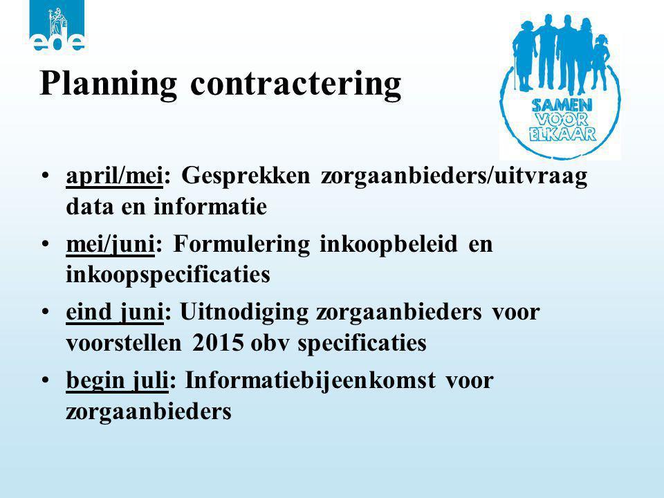 Planning contractering •april/mei: Gesprekken zorgaanbieders/uitvraag data en informatie •mei/juni: Formulering inkoopbeleid en inkoopspecificaties •e